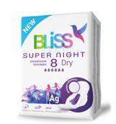 "Прокладки для критических дней ""Bliss"" Super Night Dry,8 шт./уп."