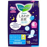*Laurier / Женские ночные тонкие гигиенические прокладки с крылышками 6 капель 10 шт