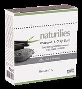 * HUNCA / Твердое туалетное мыло с углем и глиной Naturilies, 90 гр  Для очищения лица и тела